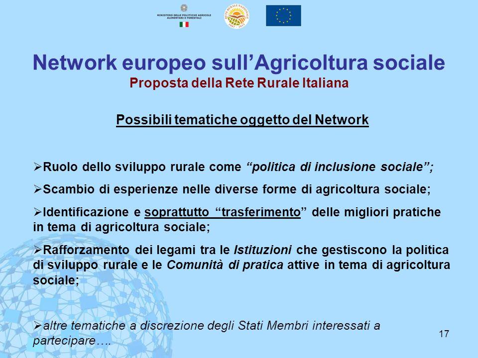 17 Network europeo sullAgricoltura sociale Proposta della Rete Rurale Italiana Possibili tematiche oggetto del Network Ruolo dello sviluppo rurale com