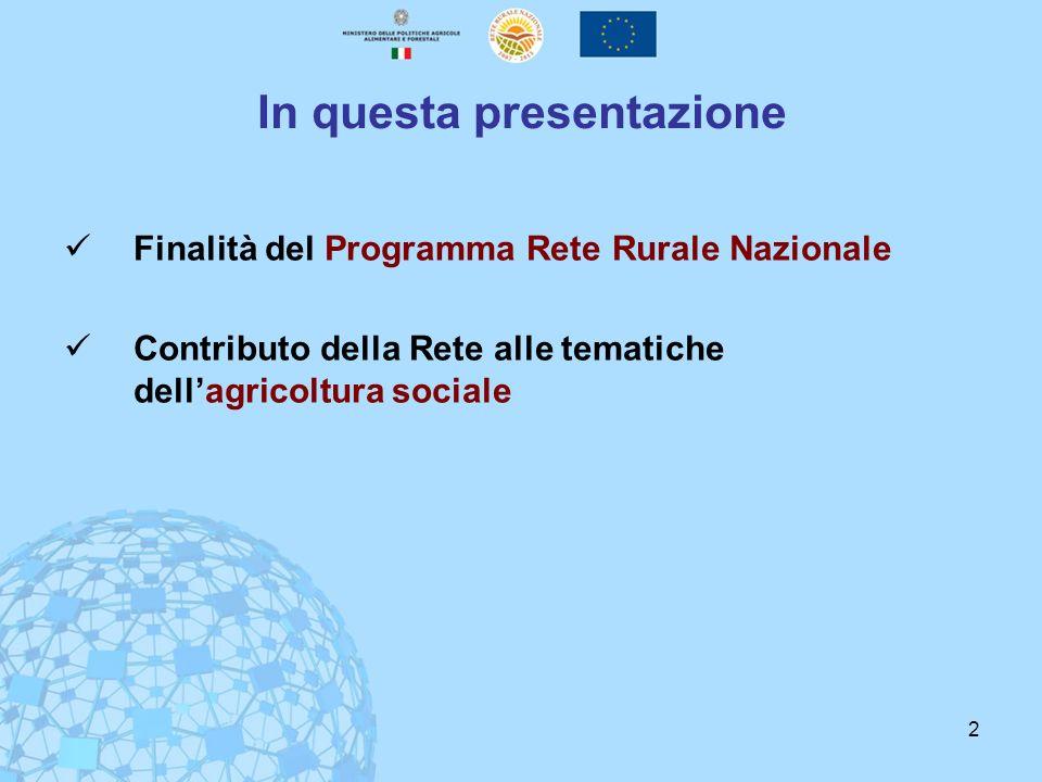 2 In questa presentazione Finalità del Programma Rete Rurale Nazionale Contributo della Rete alle tematiche dellagricoltura sociale