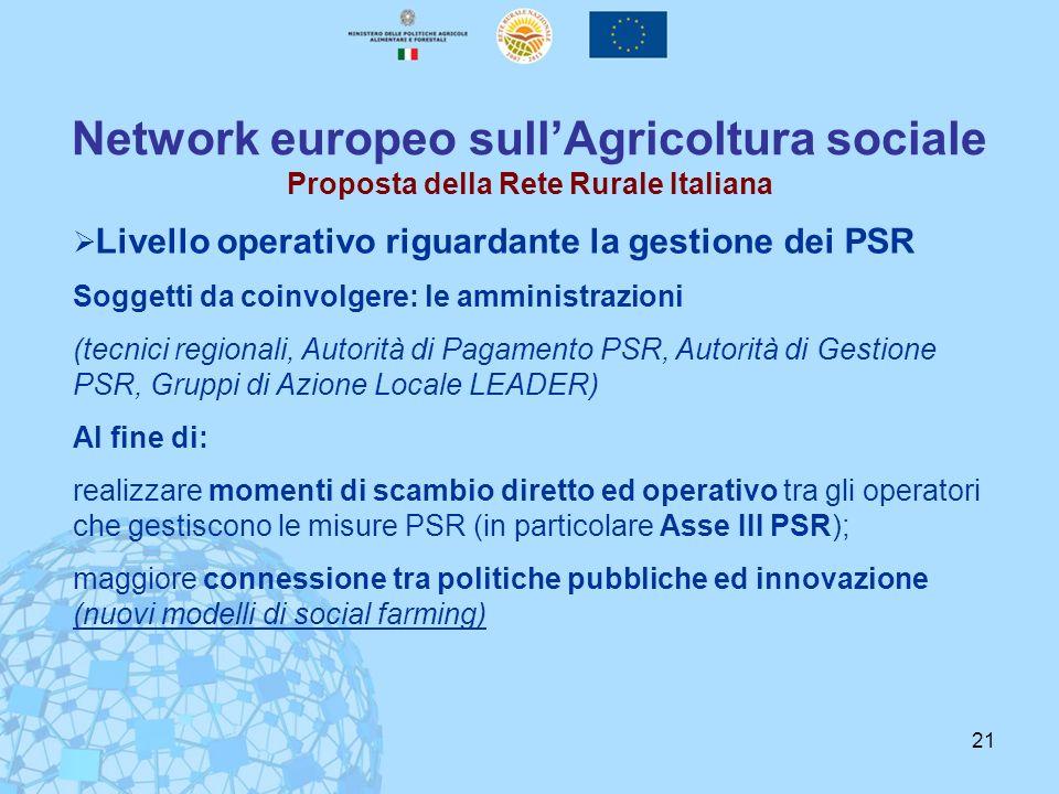 21 Network europeo sullAgricoltura sociale Proposta della Rete Rurale Italiana Livello operativo riguardante la gestione dei PSR Soggetti da coinvolge