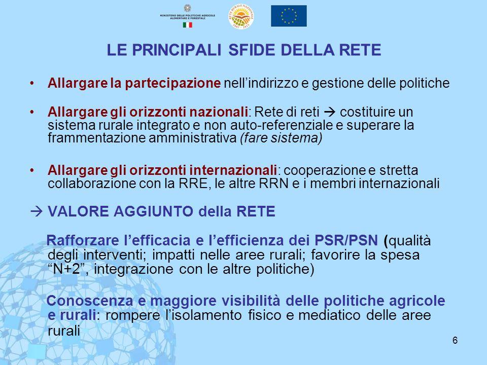 6 LE PRINCIPALI SFIDE DELLA RETE Allargare la partecipazione nellindirizzo e gestione delle politiche Allargare gli orizzonti nazionali: Rete di reti