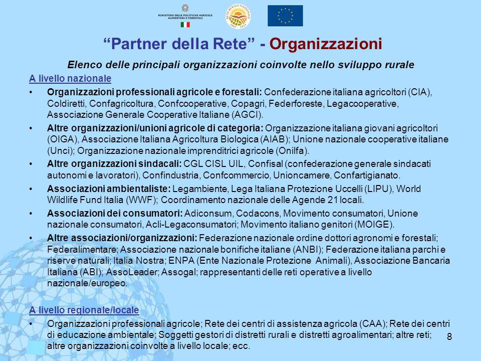 8 Partner della Rete - Organizzazioni Elenco delle principali organizzazioni coinvolte nello sviluppo rurale A livello nazionale Organizzazioni profes