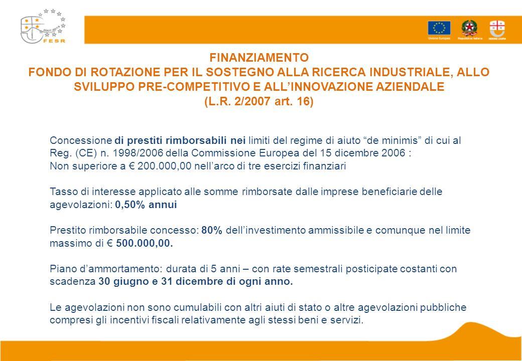 Concessione di prestiti rimborsabili nei limiti del regime di aiuto de minimis di cui al Reg.