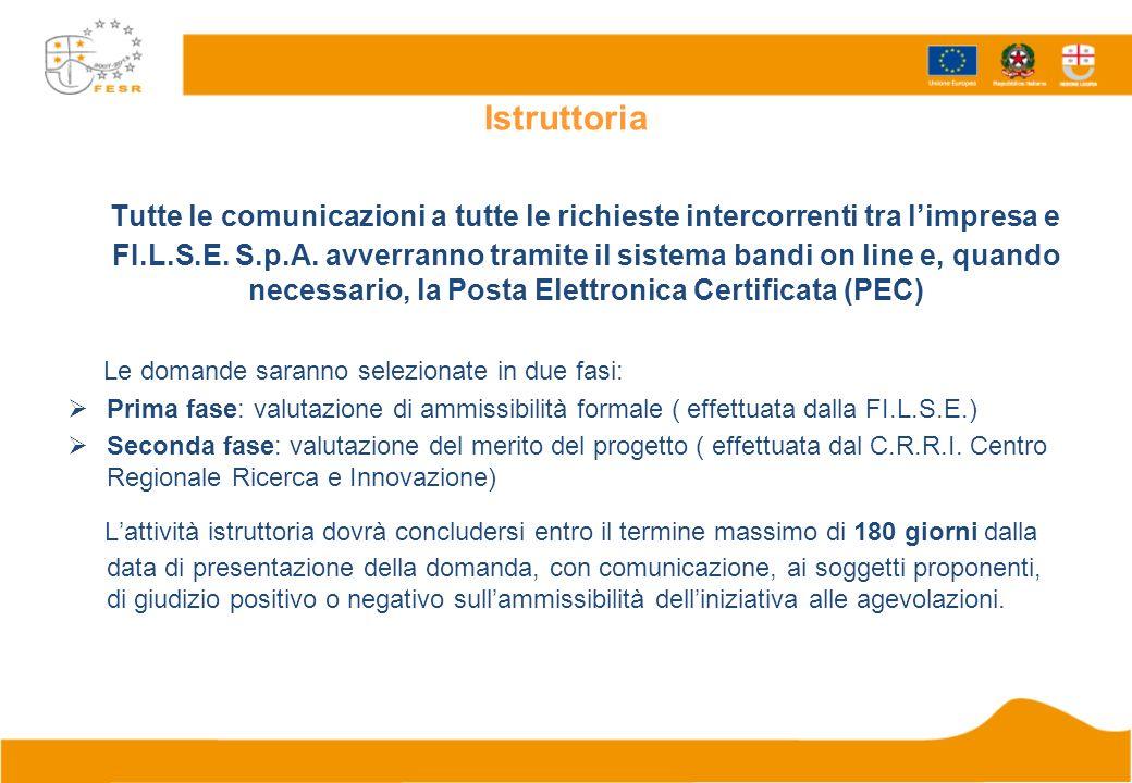 Istruttoria Tutte le comunicazioni a tutte le richieste intercorrenti tra limpresa e FI.L.S.E.