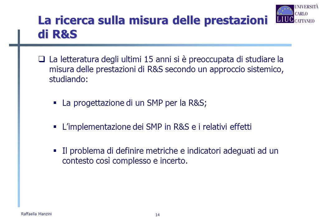 Raffaella Manzini 14 La ricerca sulla misura delle prestazioni di R&S La letteratura degli ultimi 15 anni si è preoccupata di studiare la misura delle