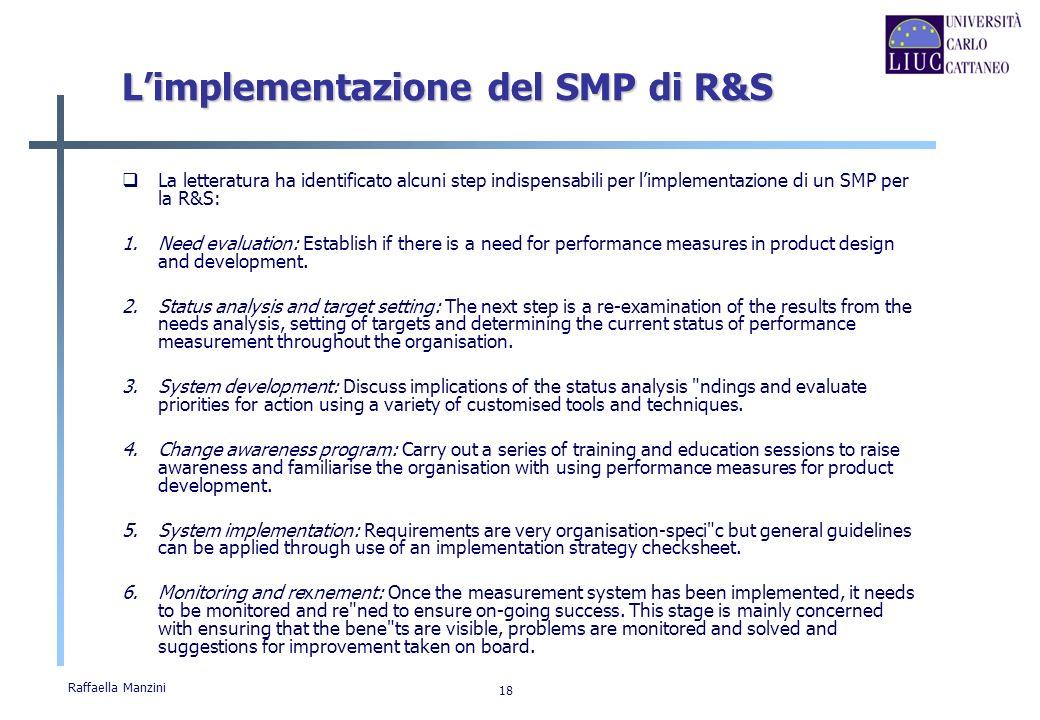 Raffaella Manzini 18 Limplementazione del SMP di R&S La letteratura ha identificato alcuni step indispensabili per limplementazione di un SMP per la R
