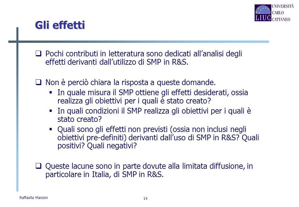 Raffaella Manzini 19 Gli effetti Pochi contributi in letteratura sono dedicati allanalisi degli effetti derivanti dallutilizzo di SMP in R&S. Non è pe