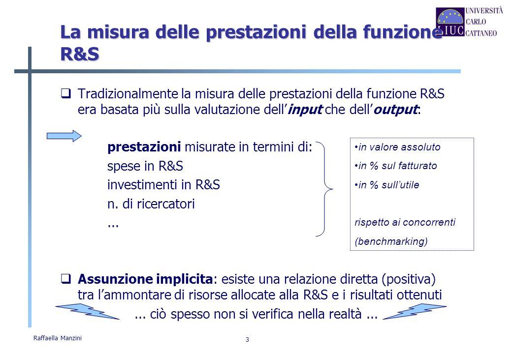 Raffaella Manzini 14 La ricerca sulla misura delle prestazioni di R&S La letteratura degli ultimi 15 anni si è preoccupata di studiare la misura delle prestazioni di R&S secondo un approccio sistemico, studiando: La progettazione di un SMP per la R&S; Limplementazione dei SMP in R&S e i relativi effetti Il problema di definire metriche e indicatori adeguati ad un contesto così complesso e incerto.