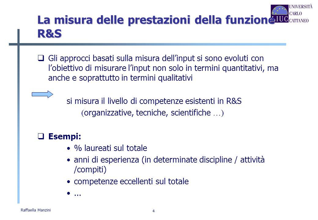 Raffaella Manzini 5 La misura delle prestazioni della funzione R&S Si sono sviluppati approcci che misurano i risultati della R&S direttamente valutando loutput ottenuto Esempi: n.