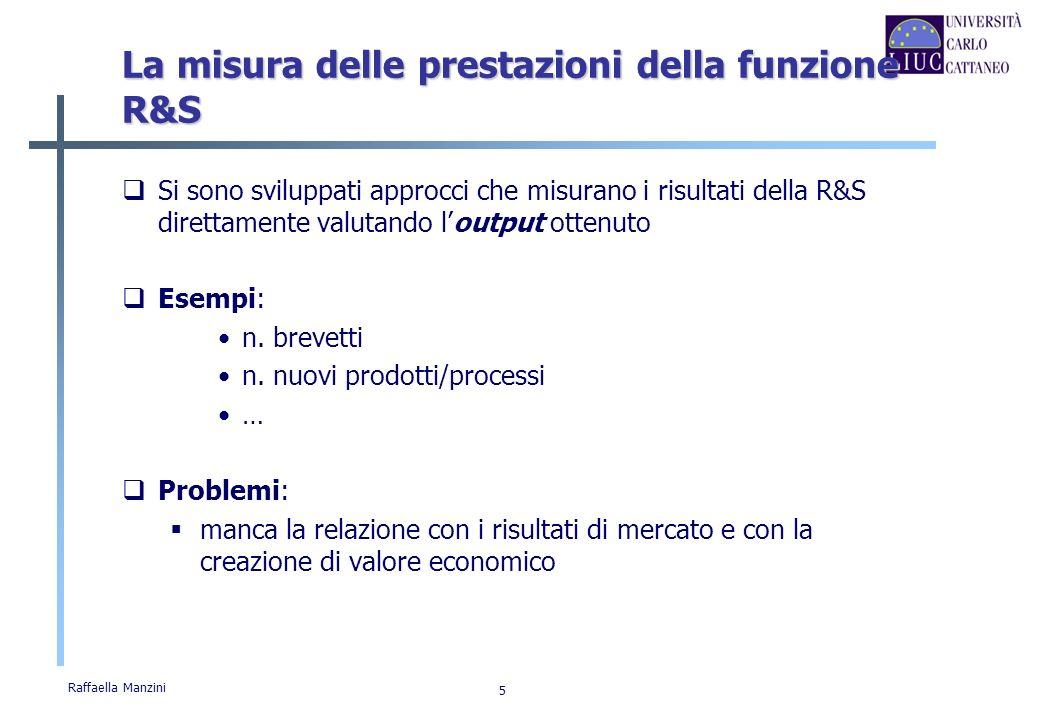 Raffaella Manzini 6 La misura delle prestazioni della funzione R&S Altri approcci hanno perciò cercato di considerare limpatto della R&S sui risultati economico-finanziari dellimpresa.