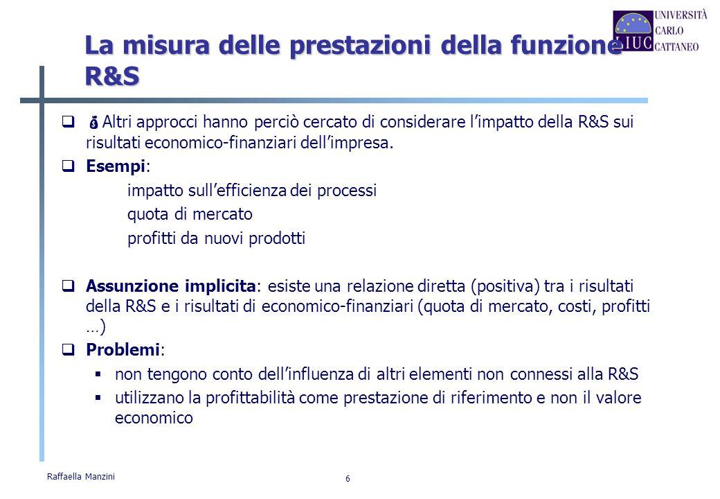 Raffaella Manzini 6 La misura delle prestazioni della funzione R&S Altri approcci hanno perciò cercato di considerare limpatto della R&S sui risultati