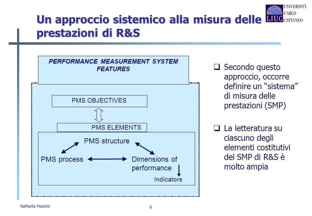 Raffaella Manzini 8 PERFORMANCE MEASUREMENT SYSTEM FEATURES PMS OBJECTIVES PMS ELEMENTS PMS process PMS structure Dimensions of performance Indicators