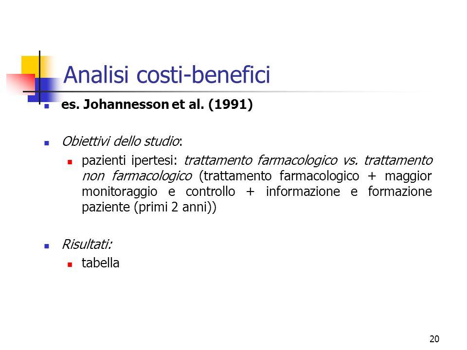 20 Analisi costi-benefici es. Johannesson et al. (1991) Obiettivi dello studio: pazienti ipertesi: trattamento farmacologico vs. trattamento non farma