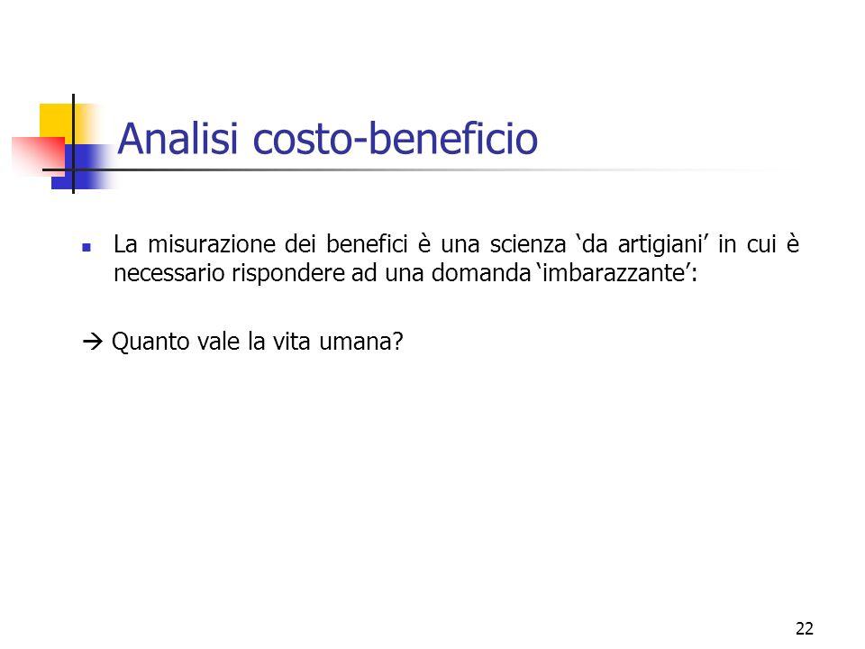 22 Analisi costo-beneficio La misurazione dei benefici è una scienza da artigiani in cui è necessario rispondere ad una domanda imbarazzante: Quanto v
