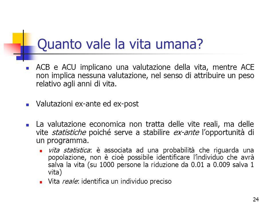 24 ACB e ACU implicano una valutazione della vita, mentre ACE non implica nessuna valutazione, nel senso di attribuire un peso relativo agli anni di v