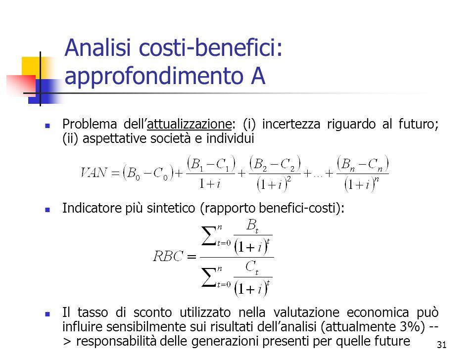 31 Analisi costi-benefici: approfondimento A Problema dellattualizzazione: (i) incertezza riguardo al futuro; (ii) aspettative società e individui Ind