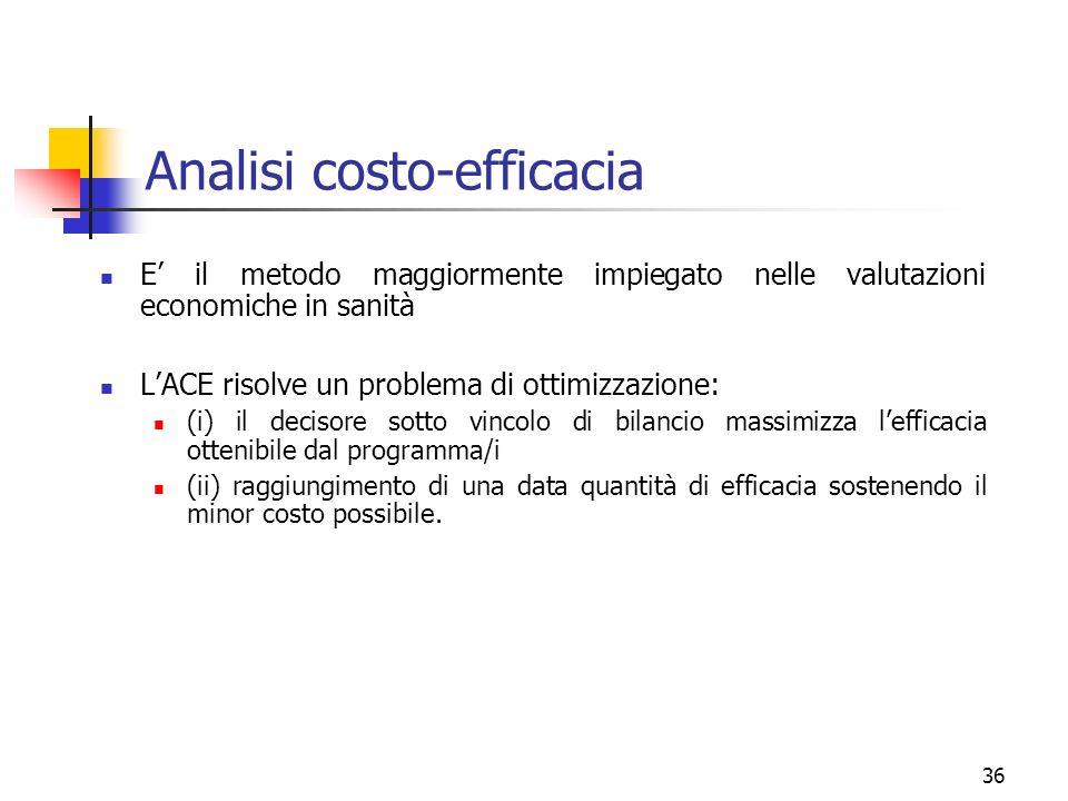 36 Analisi costo-efficacia E il metodo maggiormente impiegato nelle valutazioni economiche in sanità LACE risolve un problema di ottimizzazione: (i) i