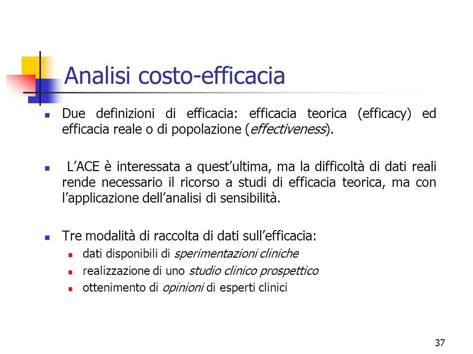 37 Analisi costo-efficacia Due definizioni di efficacia: efficacia teorica (efficacy) ed efficacia reale o di popolazione (effectiveness). LACE è inte