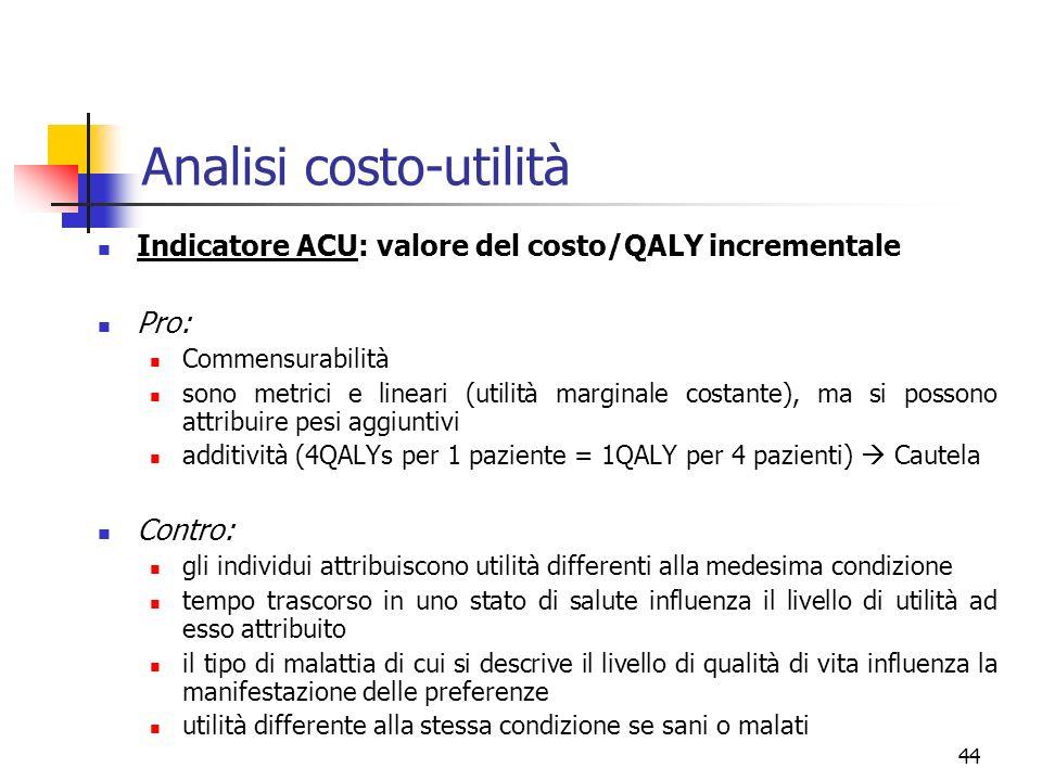 44 Analisi costo-utilità Indicatore ACU: valore del costo/QALY incrementale Pro: Commensurabilità sono metrici e lineari (utilità marginale costante),