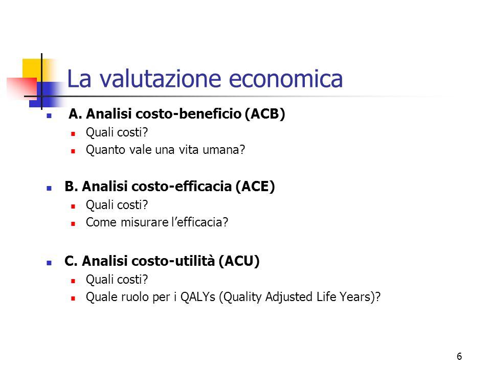 6 La valutazione economica A. Analisi costo-beneficio (ACB) Quali costi? Quanto vale una vita umana? B. Analisi costo-efficacia (ACE) Quali costi? Com