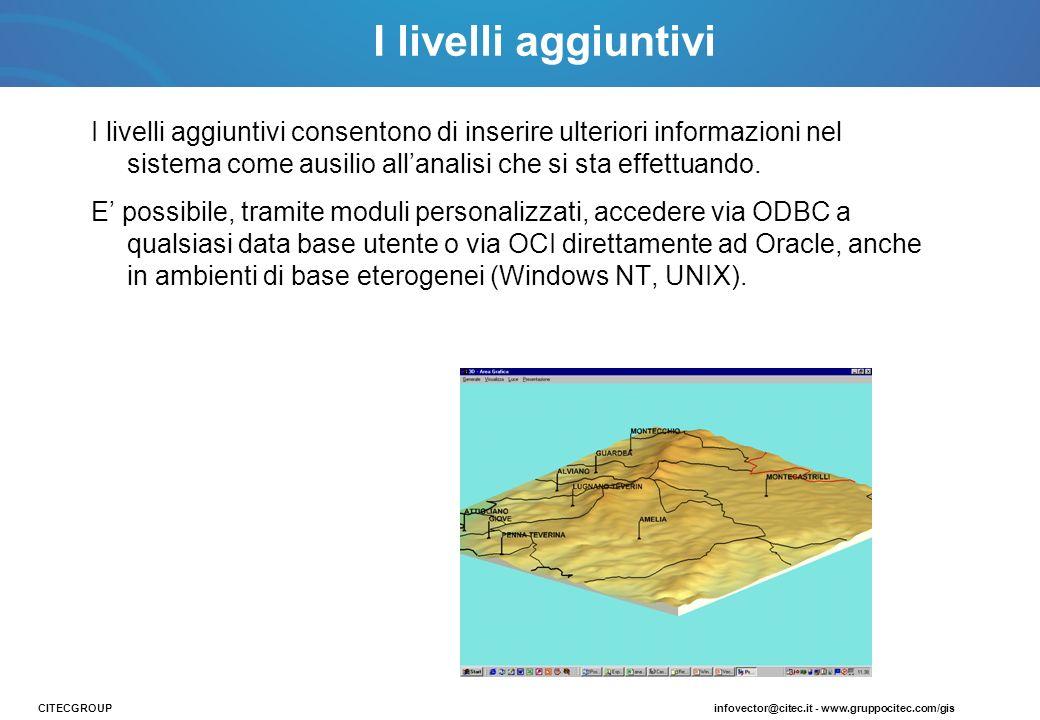 I livelli aggiuntivi consentono di inserire ulteriori informazioni nel sistema come ausilio allanalisi che si sta effettuando. E possibile, tramite mo