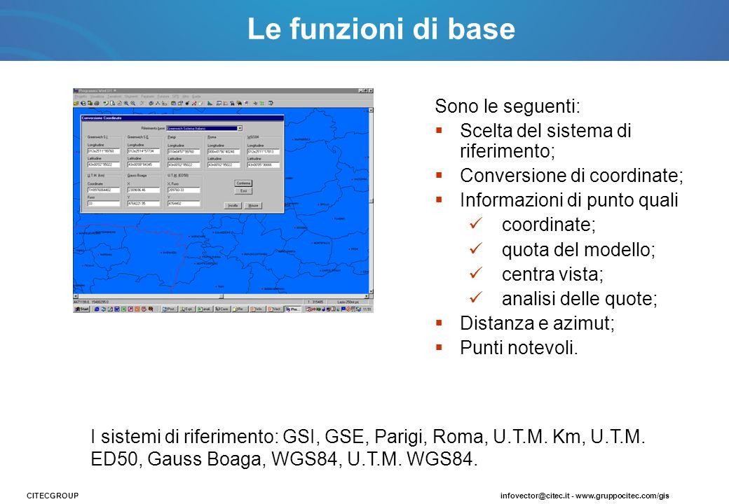 Sono le seguenti: Scelta del sistema di riferimento; Conversione di coordinate; Informazioni di punto quali coordinate; quota del modello; centra vist
