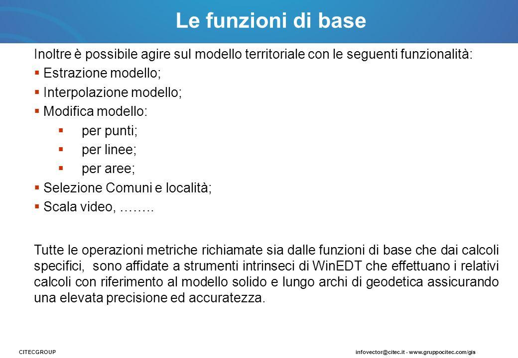 Inoltre è possibile agire sul modello territoriale con le seguenti funzionalità: Estrazione modello; Interpolazione modello; Modifica modello: per pun
