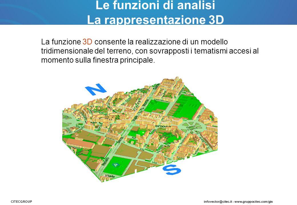 La funzione 3D consente la realizzazione di un modello tridimensionale del terreno, con sovrapposti i tematismi accesi al momento sulla finestra princ