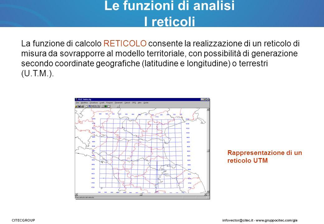 La funzione di calcolo RETICOLO consente la realizzazione di un reticolo di misura da sovrapporre al modello territoriale, con possibilità di generazi