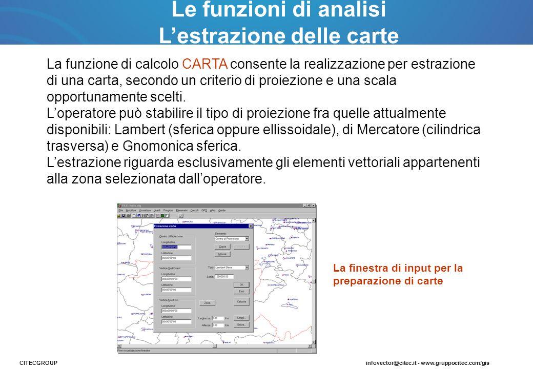 La funzione di calcolo CARTA consente la realizzazione per estrazione di una carta, secondo un criterio di proiezione e una scala opportunamente scelt
