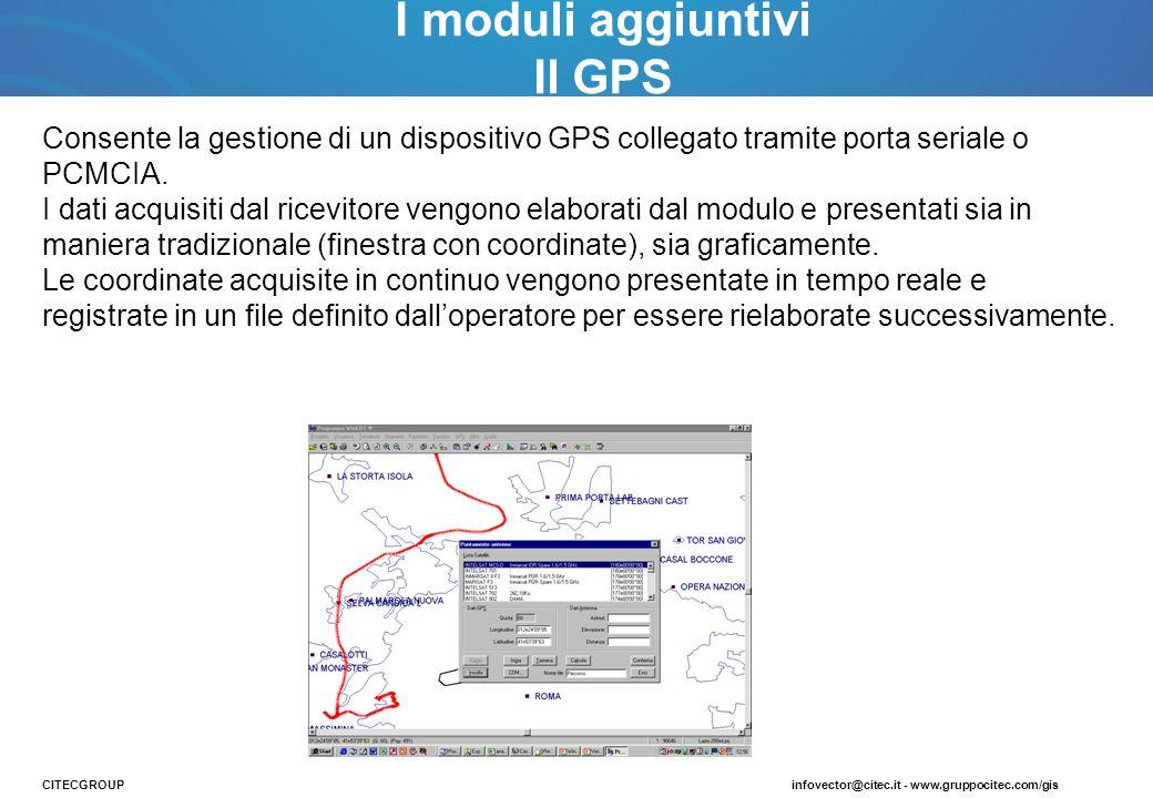 Consente la gestione di un dispositivo GPS collegato tramite porta seriale o PCMCIA. I dati acquisiti dal ricevitore vengono elaborati dal modulo e pr