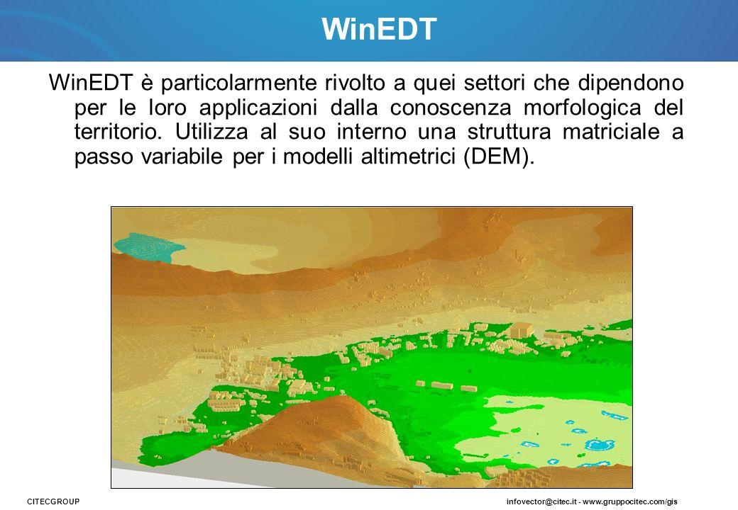 WinEDT è particolarmente rivolto a quei settori che dipendono per le loro applicazioni dalla conoscenza morfologica del territorio. Utilizza al suo in