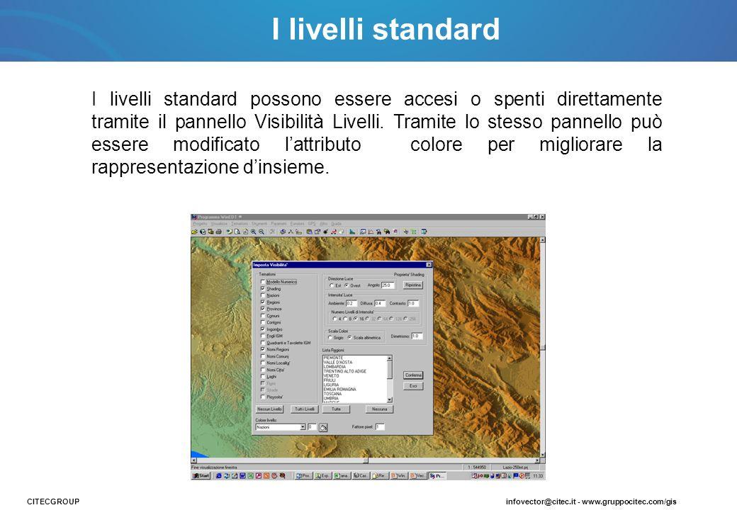 I livelli standard I livelli standard possono essere accesi o spenti direttamente tramite il pannello Visibilità Livelli. Tramite lo stesso pannello p