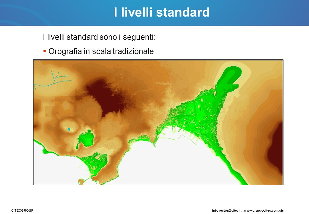 I livelli standard sono i seguenti: Orografia in scala tradizionale CITECGROUPinfovector@citec.it - www.gruppocitec.com/gis I livelli standard