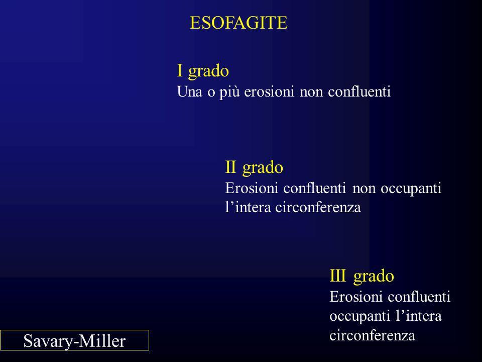 ESOFAGITE I grado Una o più erosioni non confluenti II grado Erosioni confluenti non occupanti lintera circonferenza III grado Erosioni confluenti occ
