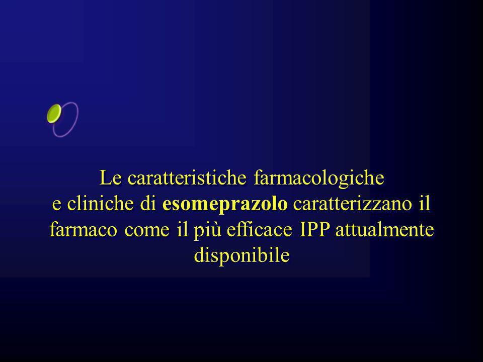 Le caratteristiche farmacologiche e cliniche di esomeprazolo caratterizzano il farmaco come il più efficace IPP attualmente disponibile Le caratterist
