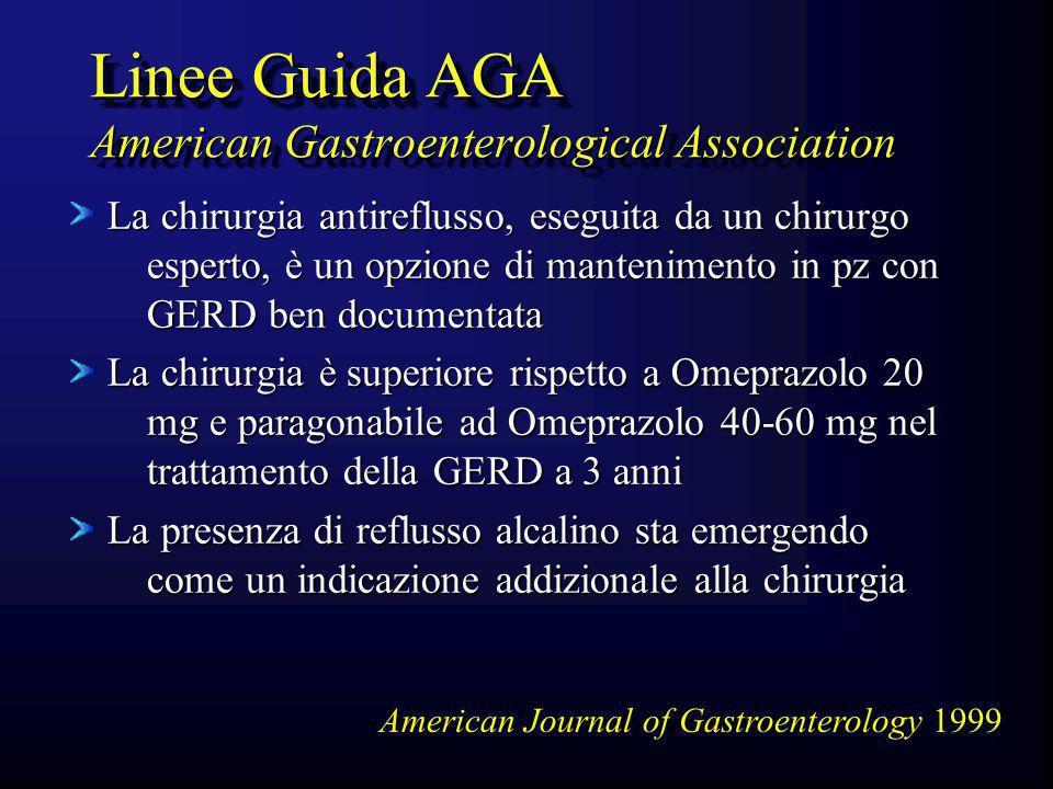 Linee Guida AGA American Gastroenterological Association La chirurgia antireflusso, eseguita da un chirurgo esperto, è un opzione di mantenimento in p