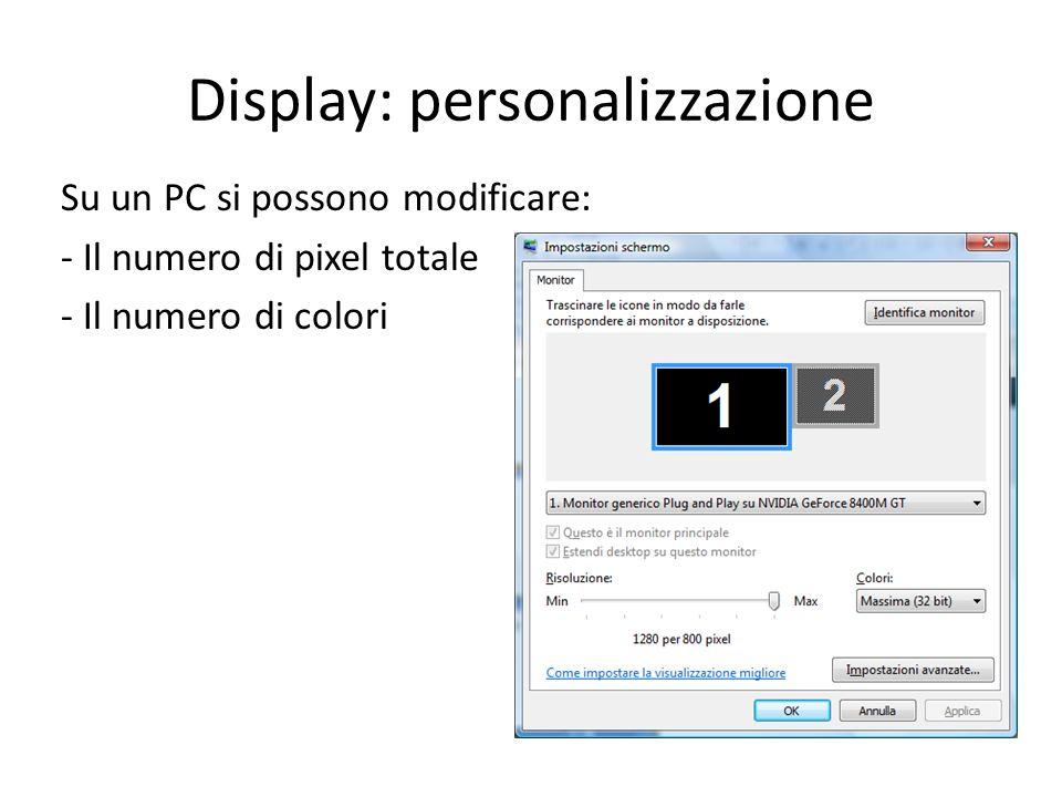 Display multipli Ogni display può essere dedicato a uno specifico insieme di compiti Es.: Photoshop: immagine in corso di elaborazione + palette e menù
