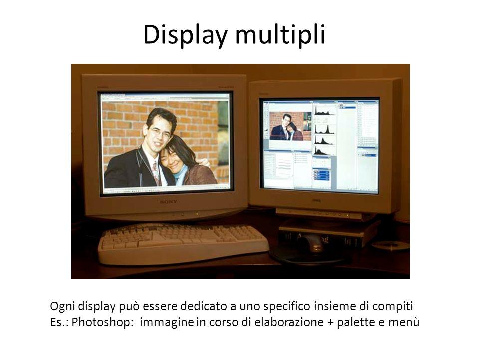 Display multipli Ogni display può essere dedicato a uno specifico insieme di compiti Es.: Photoshop: immagine in corso di elaborazione + palette e men