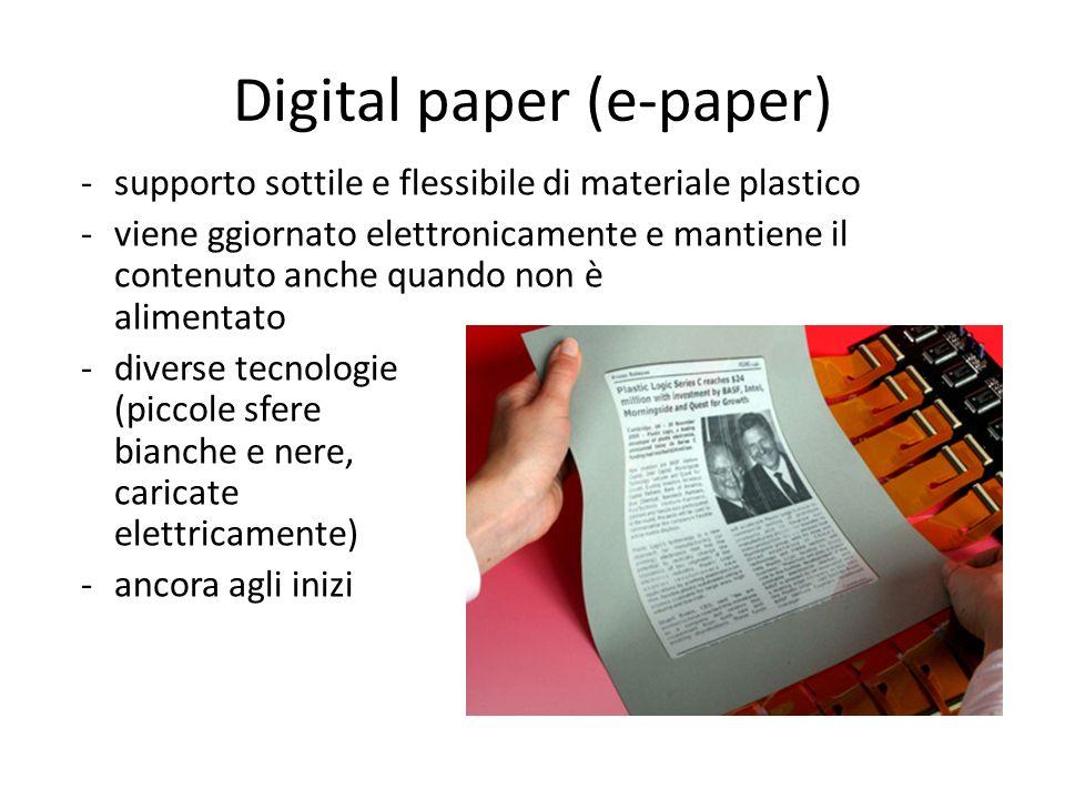 Digital paper (e-paper) -supporto sottile e flessibile di materiale plastico -viene ggiornato elettronicamente e mantiene il contenuto anche quando no