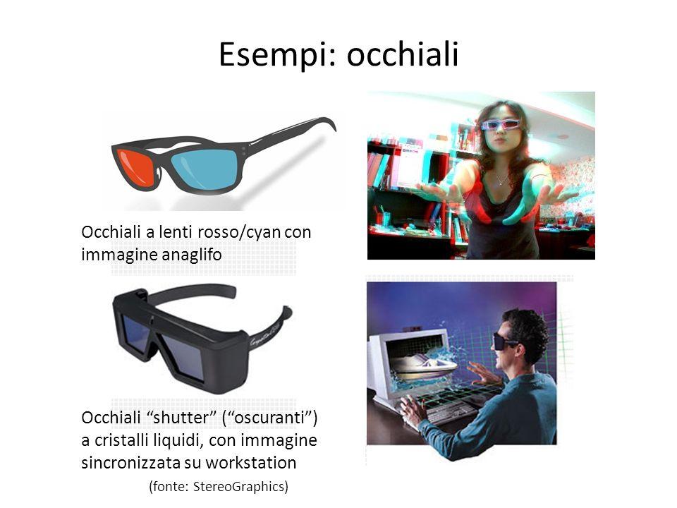 Esempi: occhiali Occhiali shutter (oscuranti) a cristalli liquidi, con immagine sincronizzata su workstation (fonte: StereoGraphics) Occhiali a lenti
