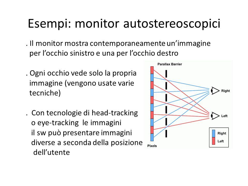 Esempi: monitor autostereoscopici. Il monitor mostra contemporaneamente unimmagine per locchio sinistro e una per locchio destro. Ogni occhio vede sol