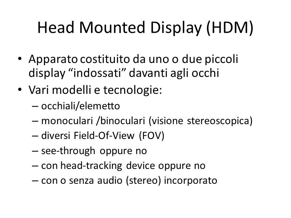 Head Mounted Display (HDM) Apparato costituito da uno o due piccoli display indossati davanti agli occhi Vari modelli e tecnologie: – occhiali/elemett
