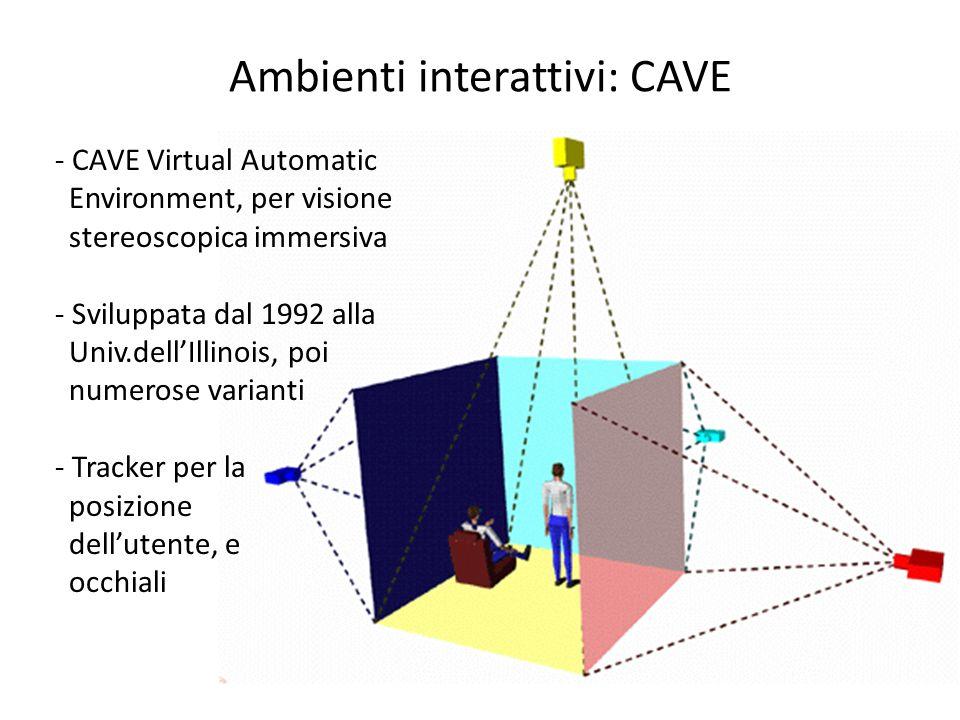 Ambienti interattivi: CAVE - CAVE Virtual Automatic Environment, per visione stereoscopica immersiva - Sviluppata dal 1992 alla Univ.dellIllinois, poi