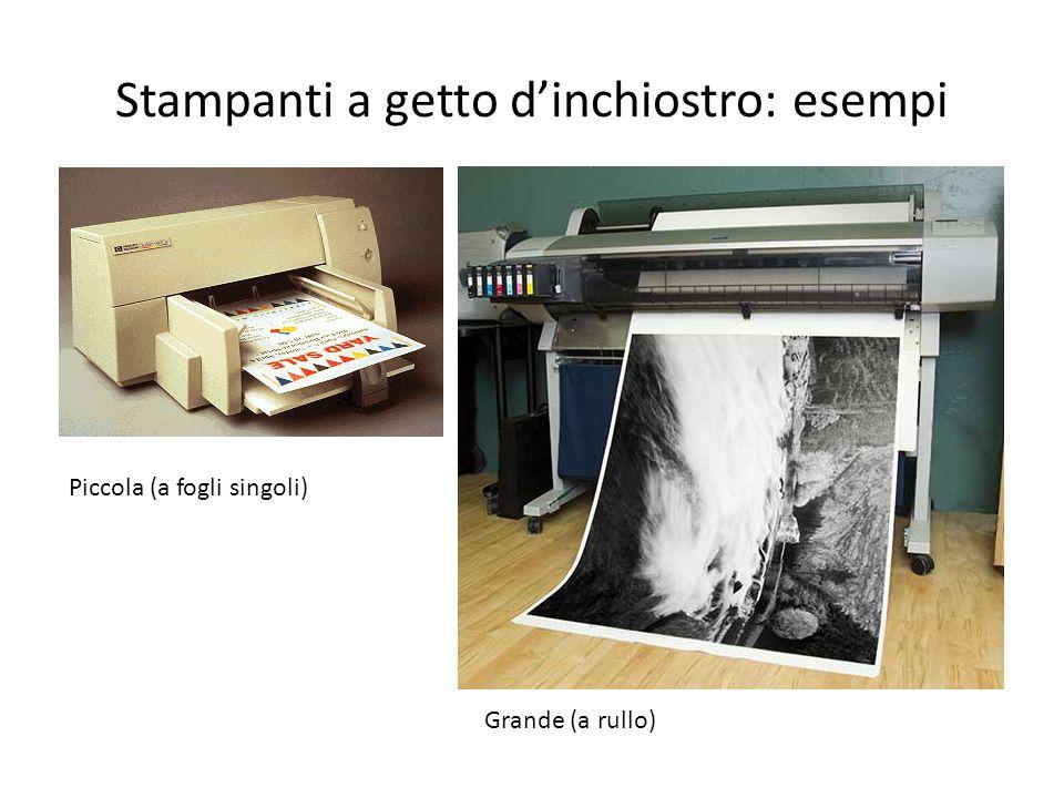 Stampanti a getto dinchiostro: esempi Piccola (a fogli singoli) Grande (a rullo)