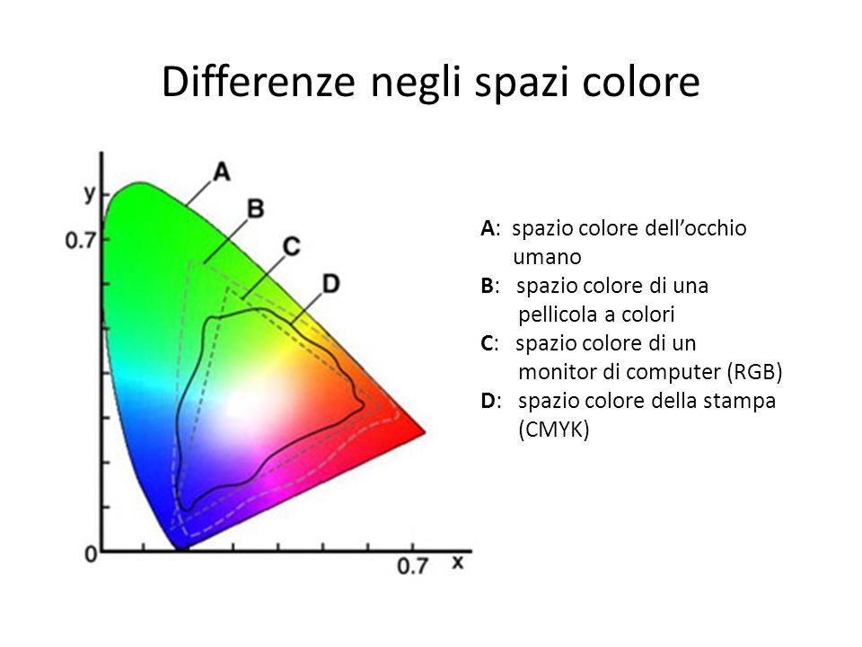 Differenze negli spazi colore A: spazio colore dellocchio umano B: spazio colore di una pellicola a colori C: spazio colore di un monitor di computer