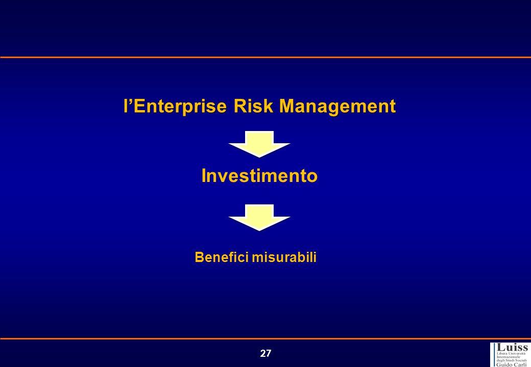 27 lEnterprise Risk Management Investimento Benefici misurabili