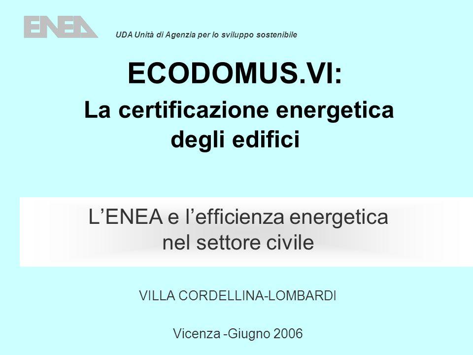 ECODOMUS.VI: La certificazione energetica degli edifici LENEA e lefficienza energetica nel settore civile VILLA CORDELLINA-LOMBARDI Vicenza -Giugno 20