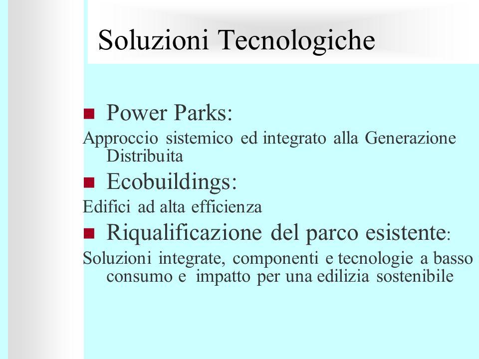 Soluzioni Tecnologiche Power Parks: Approccio sistemico ed integrato alla Generazione Distribuita Ecobuildings: Edifici ad alta efficienza Riqualifica