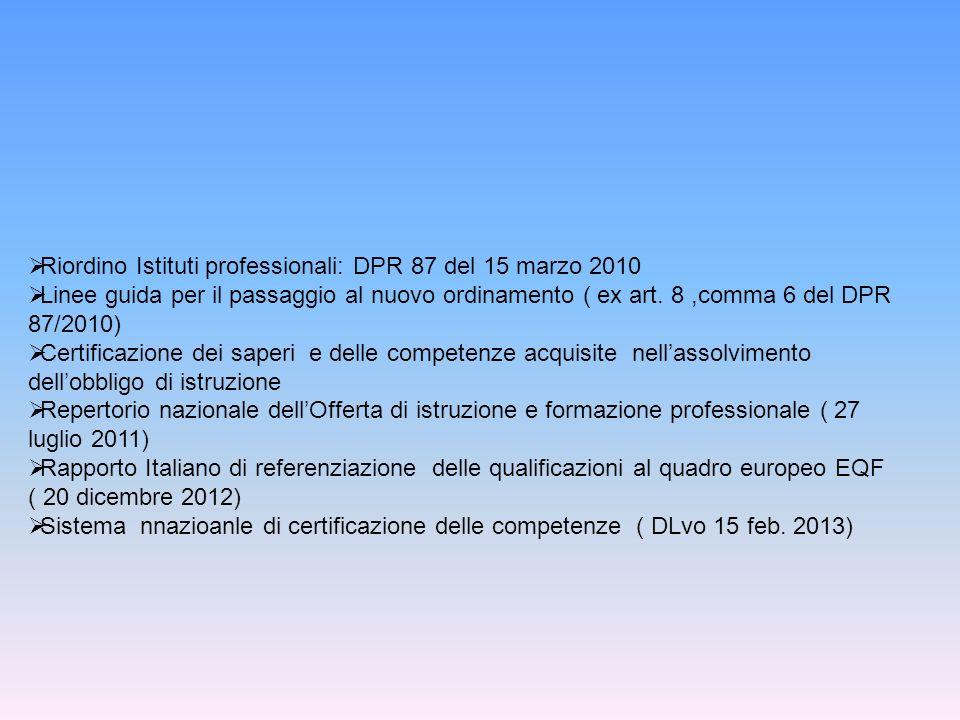 Riordino Istituti professionali: DPR 87 del 15 marzo 2010 Linee guida per il passaggio al nuovo ordinamento ( ex art.