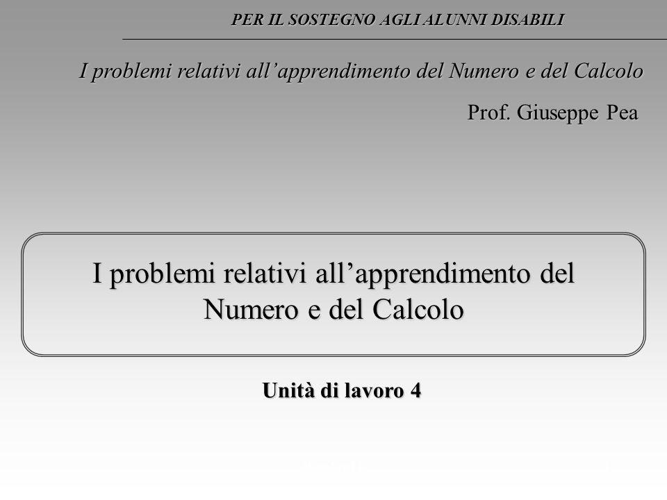 Regoliosi 31 I problemi relativi allapprendimento del Numero e del Calcolo Unità di lavoro 4 PER IL SOSTEGNO AGLI ALUNNI DISABILI Prof. Giuseppe Pea I